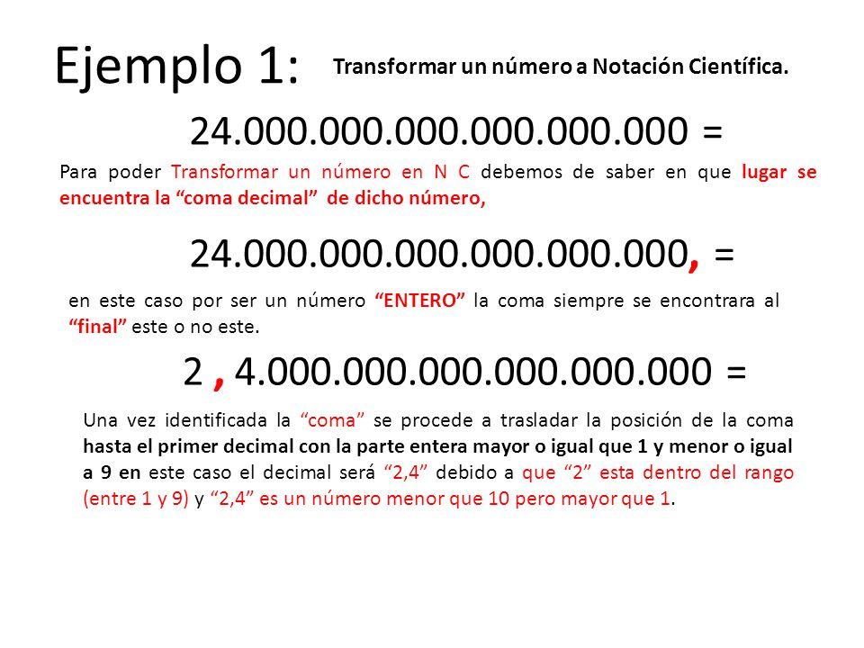 Ejemplo 1: Transformar un número a Notación Científica. 24.000.000.000.000.000.000 =
