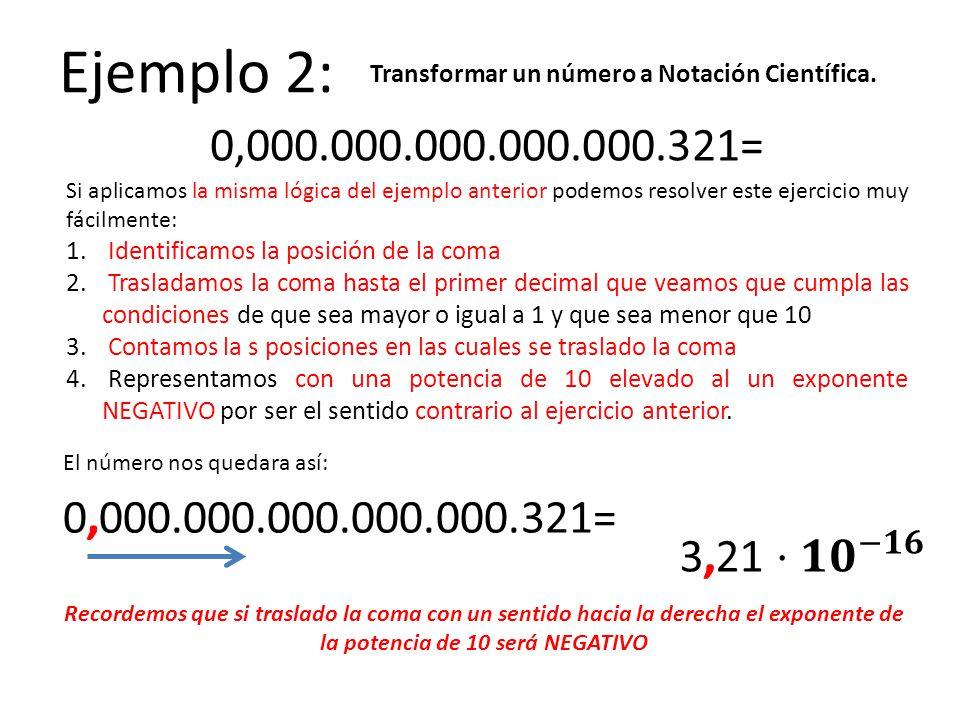 Ejemplo 2: Transformar un número a Notación Científica. 0,000.000.000.000.000.321=