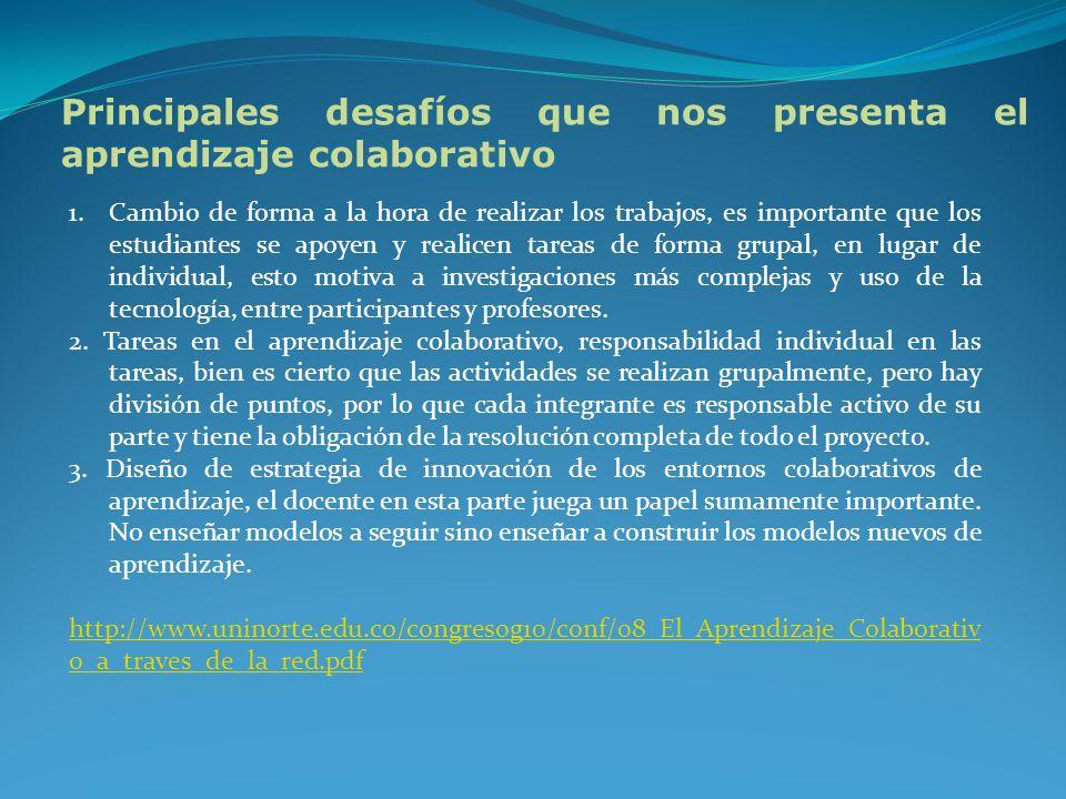 Principales desafíos que nos presenta el aprendizaje colaborativo