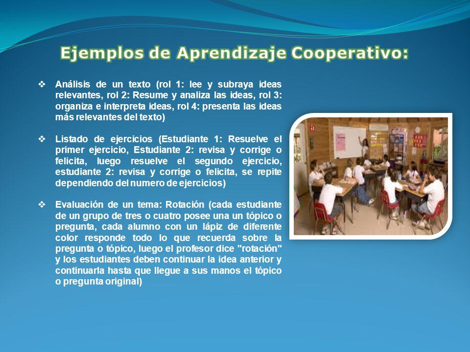 Ejemplos de Aprendizaje Cooperativo: