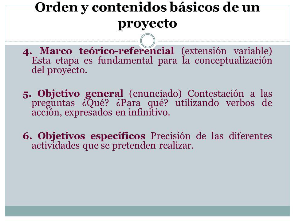 Orden y contenidos básicos de un proyecto