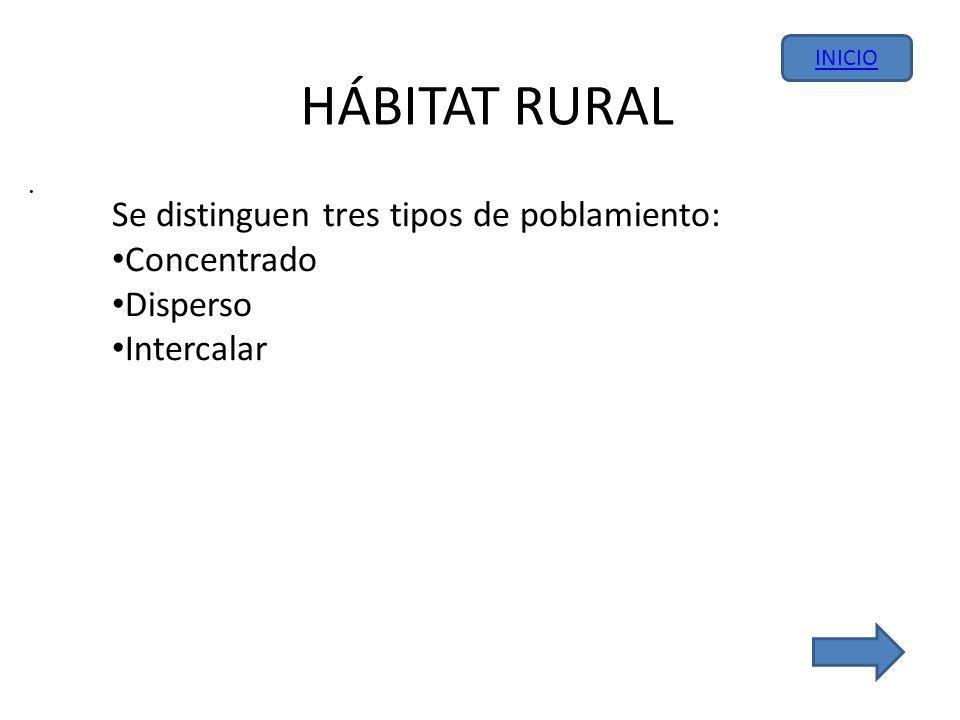 HÁBITAT RURAL Se distinguen tres tipos de poblamiento: Concentrado