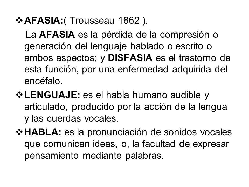 AFASIA:( Trousseau 1862 ).