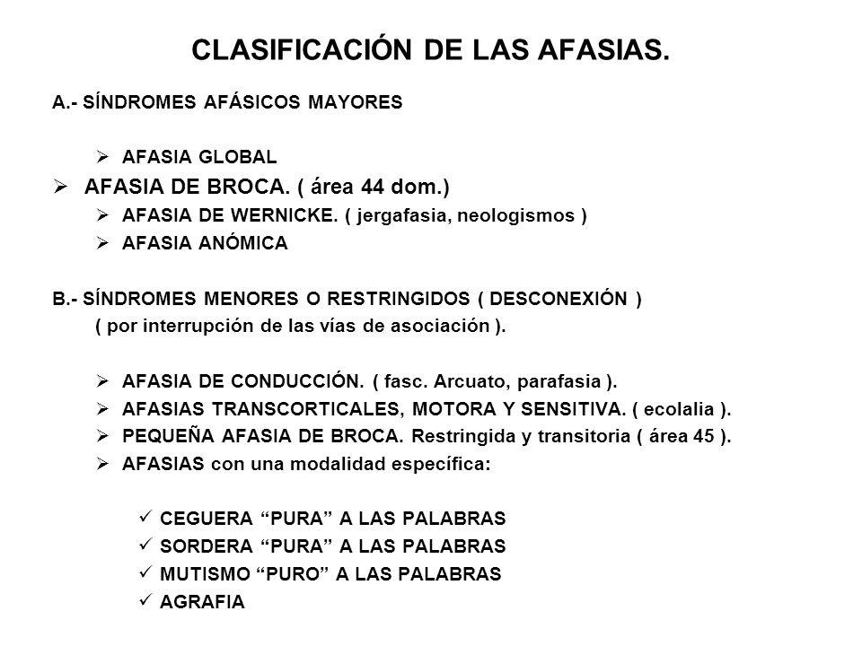 CLASIFICACIÓN DE LAS AFASIAS.
