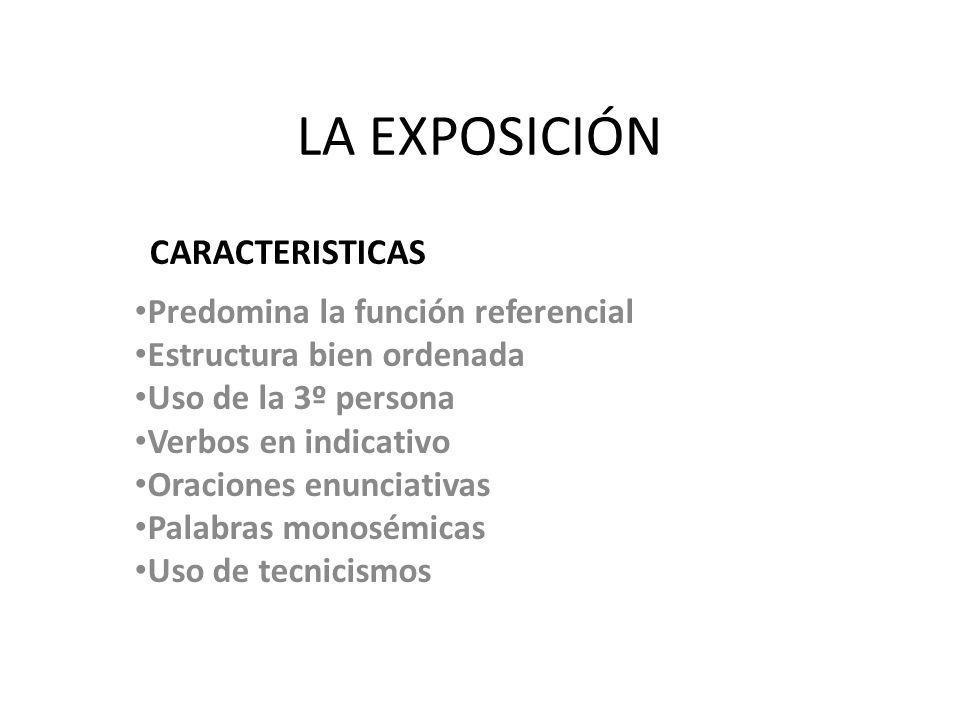 LA EXPOSICIÓN CARACTERISTICAS Predomina la función referencial