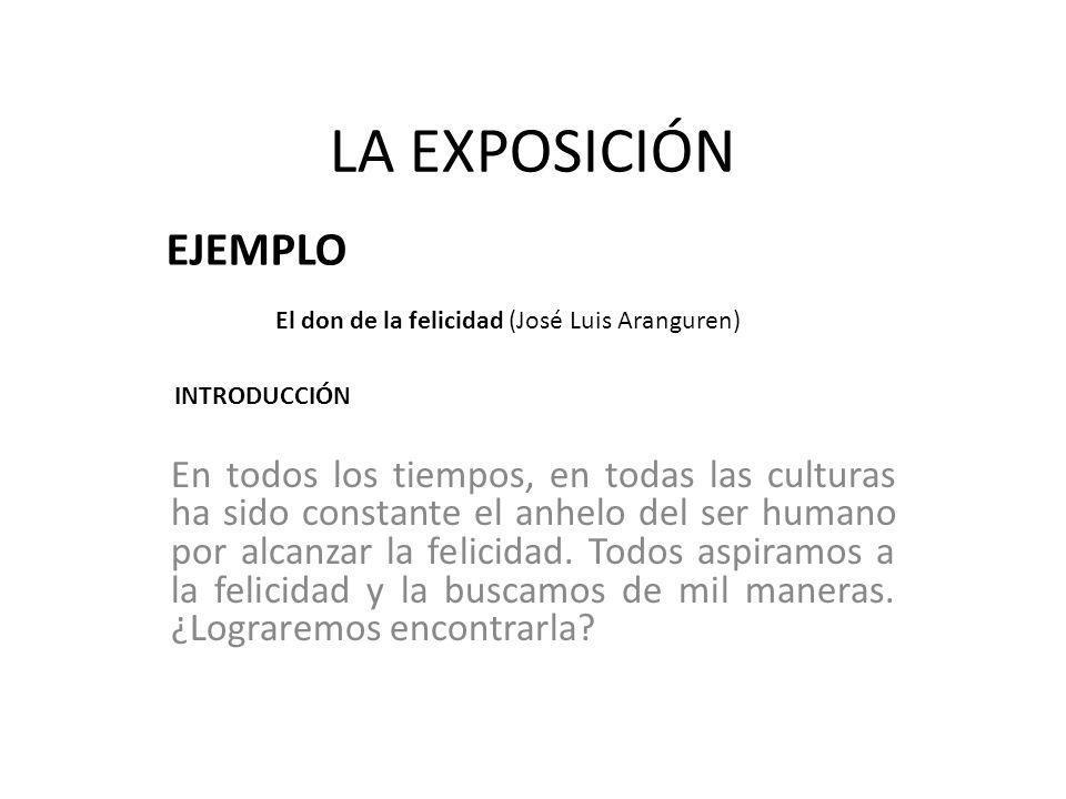 LA EXPOSICIÓN EJEMPLO. El don de la felicidad (José Luis Aranguren) INTRODUCCIÓN.