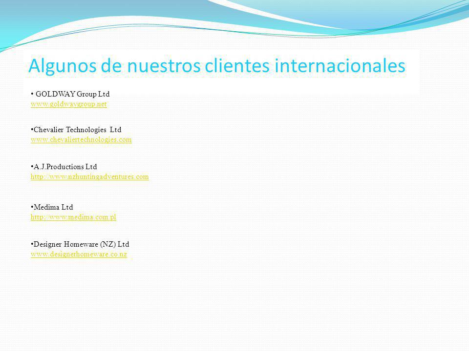 Algunos de nuestros clientes internacionales