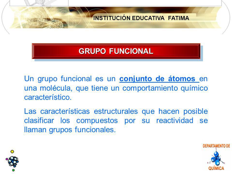 GRUPO FUNCIONAL Un grupo funcional es un conjunto de átomos en una molécula, que tiene un comportamiento químico característico.
