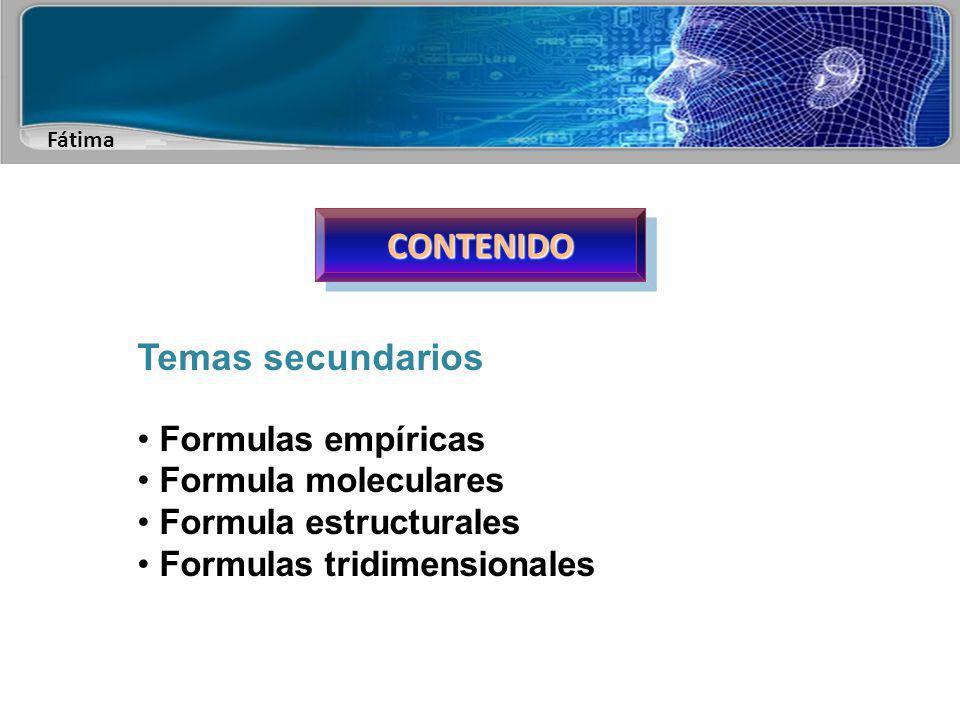 CONTENIDO Temas secundarios Formulas empíricas Formula moleculares