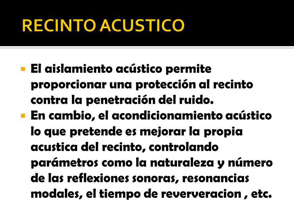 RECINTO ACUSTICO El aislamiento acústico permite proporcionar una protección al recinto contra la penetración del ruido.