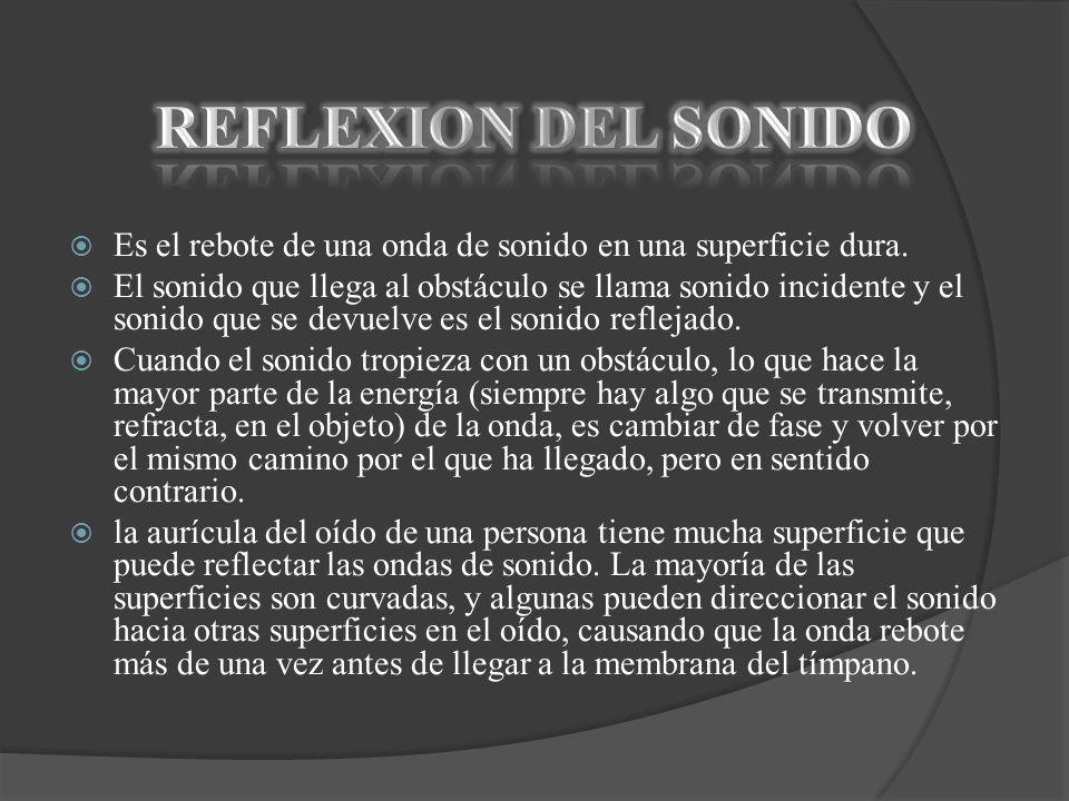 REFLEXION DEL SONIDO Es el rebote de una onda de sonido en una superficie dura.