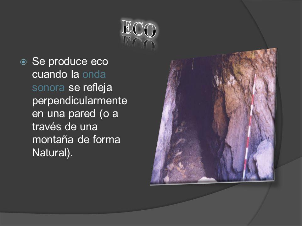 ECO Se produce eco cuando la onda sonora se refleja perpendicularmente en una pared (o a través de una montaña de forma Natural).