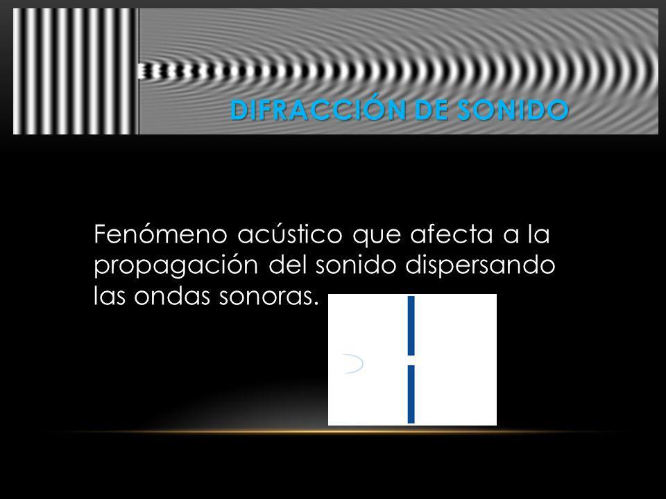 Difracción De sonido Fenómeno acústico que afecta a la propagación del sonido dispersando las ondas sonoras.