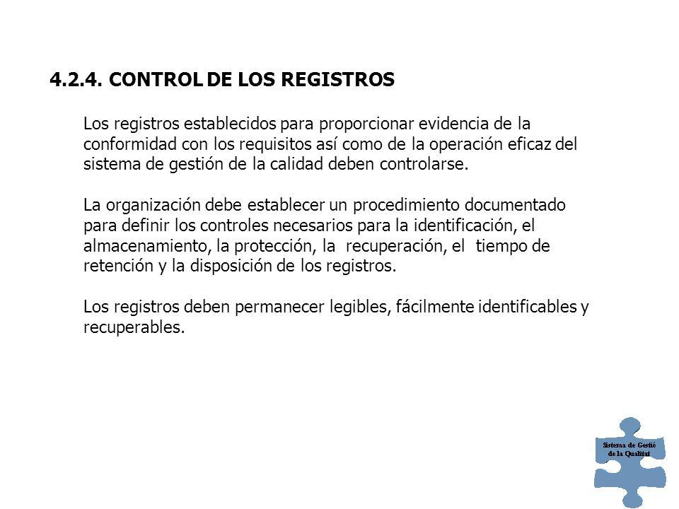 4.2.4. CONTROL DE LOS REGISTROS