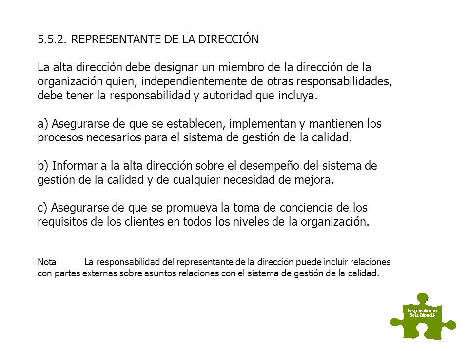5.5.2. REPRESENTANTE DE LA DIRECCIÓN