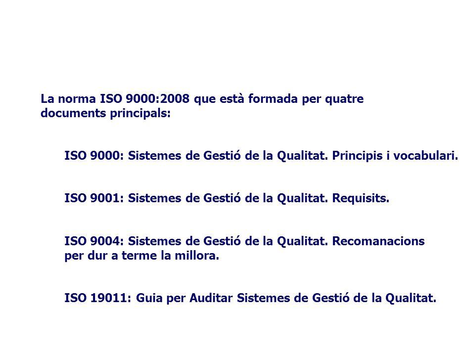 La norma ISO 9000:2008 que està formada per quatre