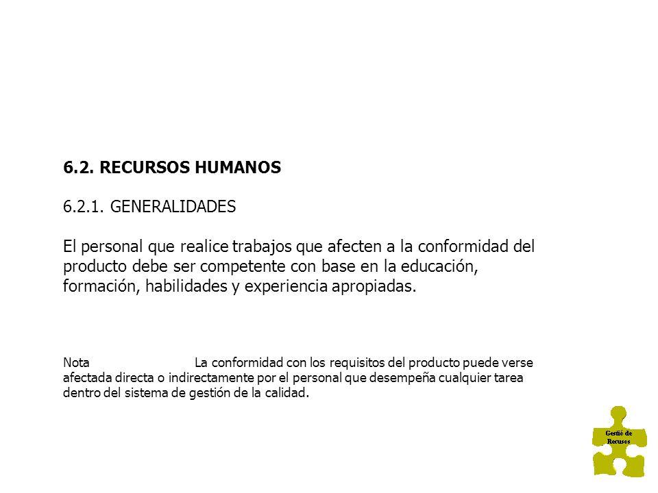 6.2. RECURSOS HUMANOS 6.2.1. GENERALIDADES