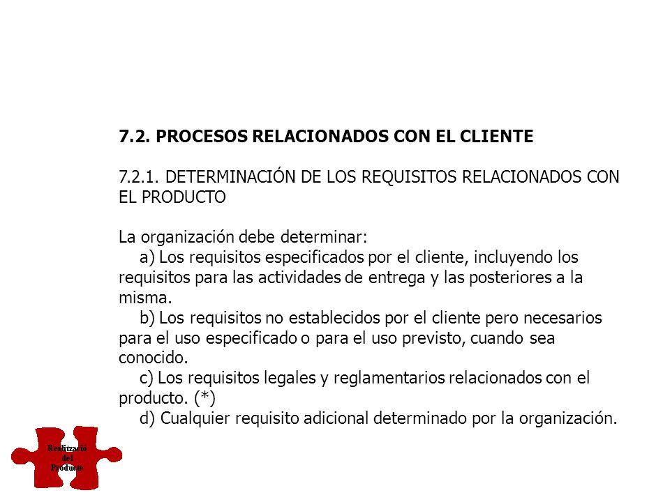 7.2. PROCESOS RELACIONADOS CON EL CLIENTE