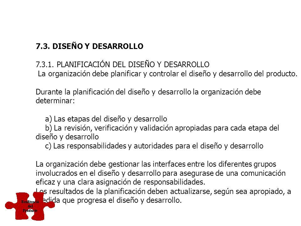 7.3. DISEÑO Y DESARROLLO 7.3.1. PLANIFICACIÓN DEL DISEÑO Y DESARROLLO.