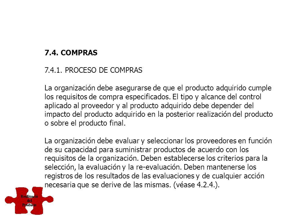 7.4. COMPRAS 7.4.1. PROCESO DE COMPRAS.
