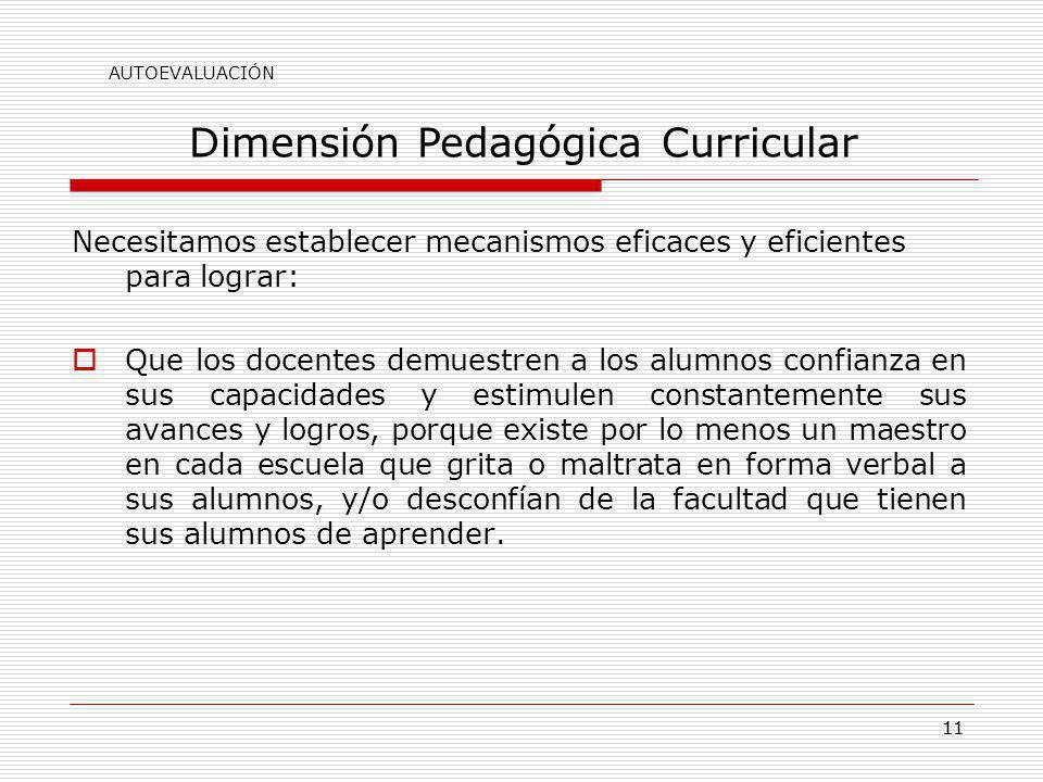 Dimensión Pedagógica Curricular