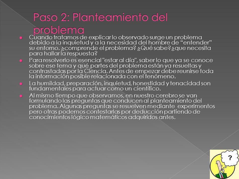 Paso 2: Planteamiento del problema