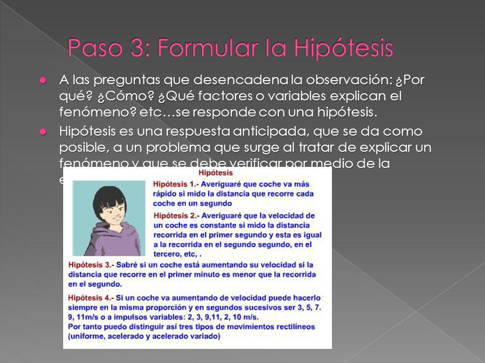 Paso 3: Formular la Hipótesis