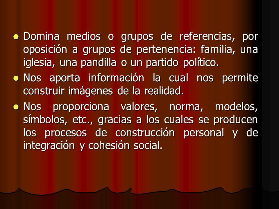 Domina medios o grupos de referencias, por oposición a grupos de pertenencia: familia, una iglesia, una pandilla o un partido político.