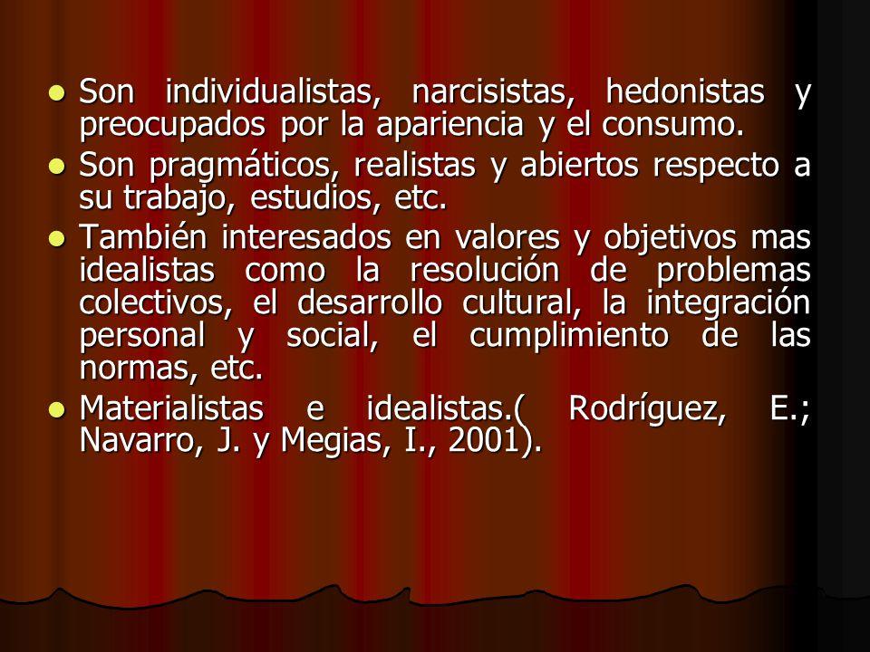 Son individualistas, narcisistas, hedonistas y preocupados por la apariencia y el consumo.