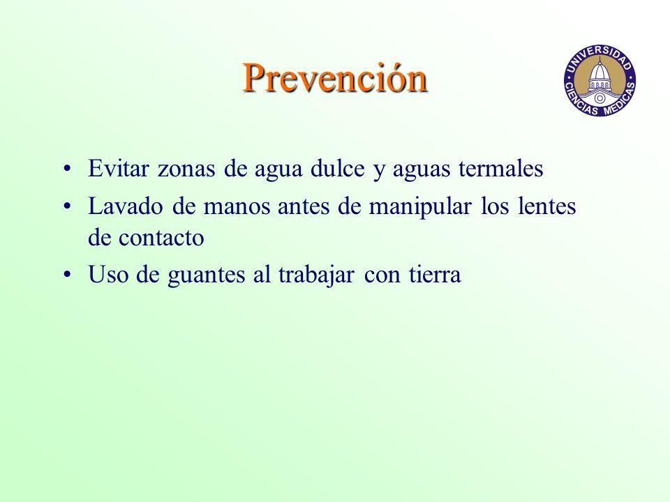 Prevención Evitar zonas de agua dulce y aguas termales
