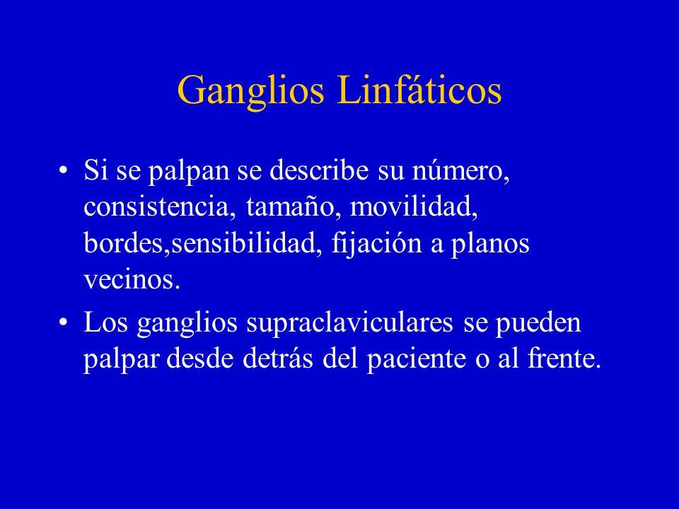 Ganglios Linfáticos Si se palpan se describe su número, consistencia, tamaño, movilidad, bordes,sensibilidad, fijación a planos vecinos.