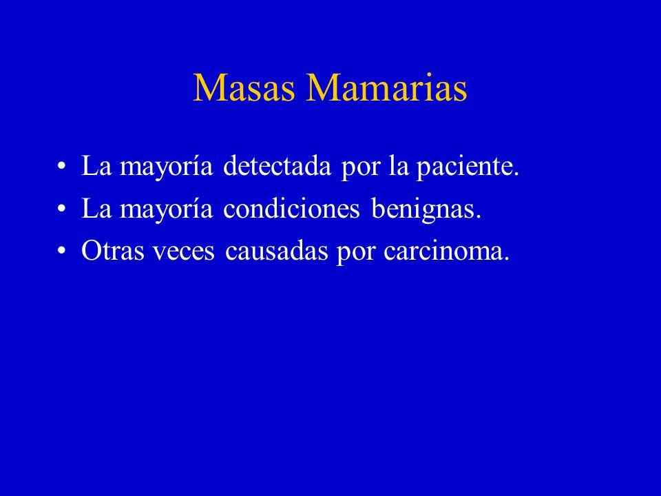 Masas Mamarias La mayoría detectada por la paciente.