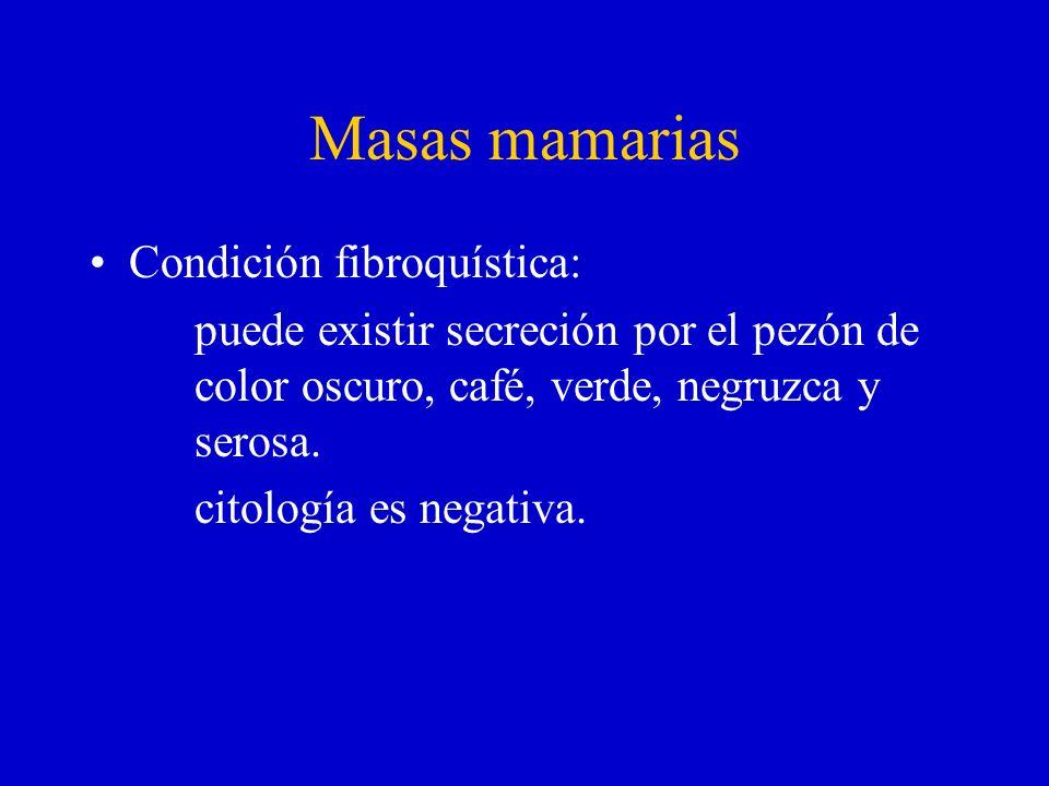 Masas mamarias Condición fibroquística:
