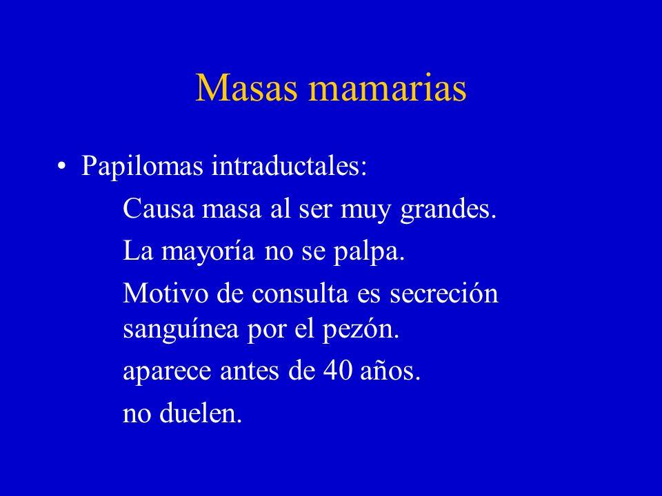 Masas mamarias Papilomas intraductales: Causa masa al ser muy grandes.