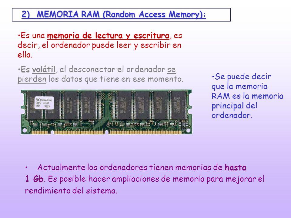 2) MEMORIA RAM (Random Access Memory):