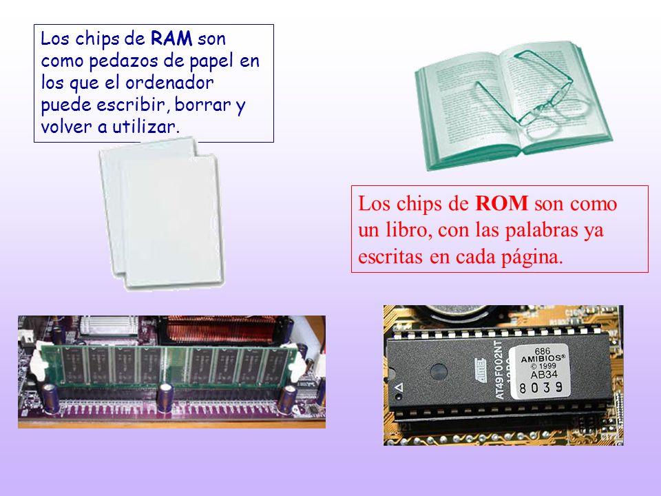 Los chips de RAM son como pedazos de papel en los que el ordenador puede escribir, borrar y volver a utilizar.