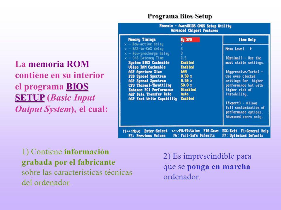 Programa Bios-Setup La memoria ROM contiene en su interior el programa BIOS SETUP (Basic Input Output System), el cual: