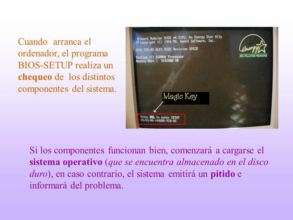 Cuando arranca el ordenador, el programa BIOS-SETUP realiza un chequeo de los distintos componentes del sistema.