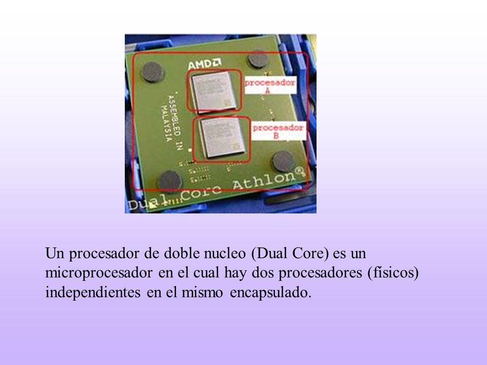 Un procesador de doble nucleo (Dual Core) es un microprocesador en el cual hay dos procesadores (físicos) independientes en el mismo encapsulado.