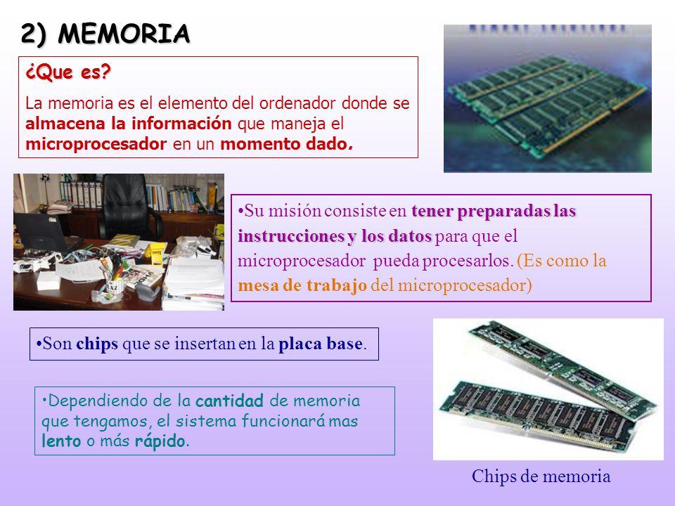 2) MEMORIA ¿Que es La memoria es el elemento del ordenador donde se almacena la información que maneja el microprocesador en un momento dado.