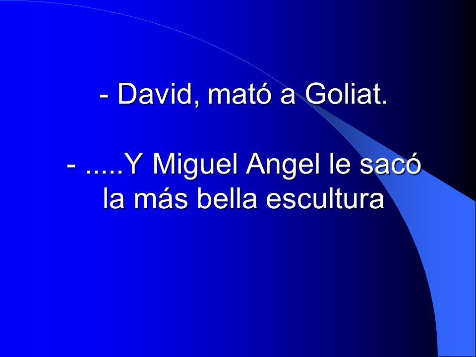 - David, mató a Goliat. - .....Y Miguel Angel le sacó la más bella escultura