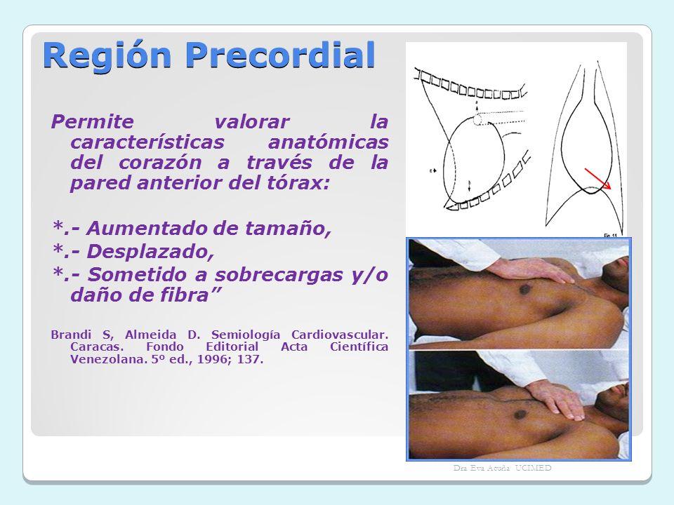 Región Precordial Permite valorar la características anatómicas del corazón a través de la pared anterior del tórax: