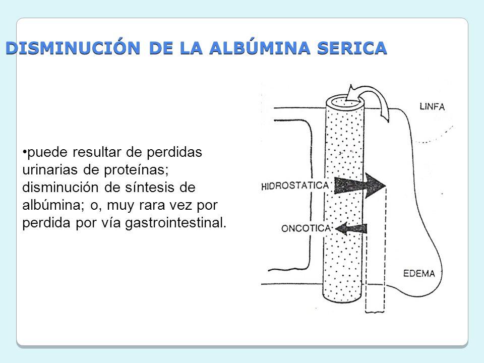 DISMINUCIÓN DE LA ALBÚMINA SERICA