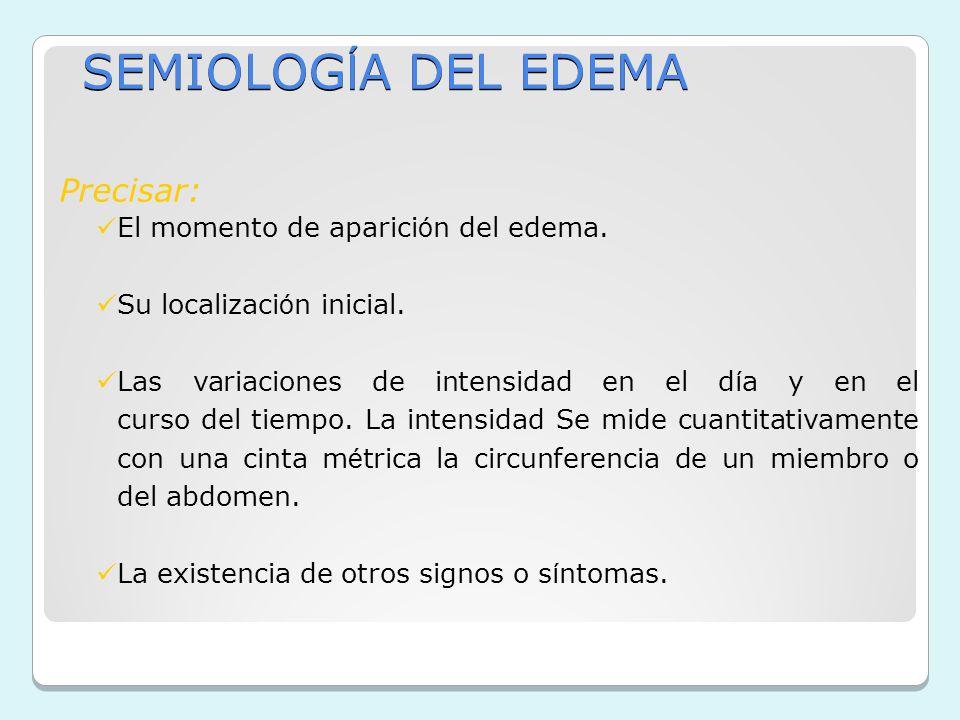SEMIOLOGÍA DEL EDEMA Precisar: El momento de aparición del edema.