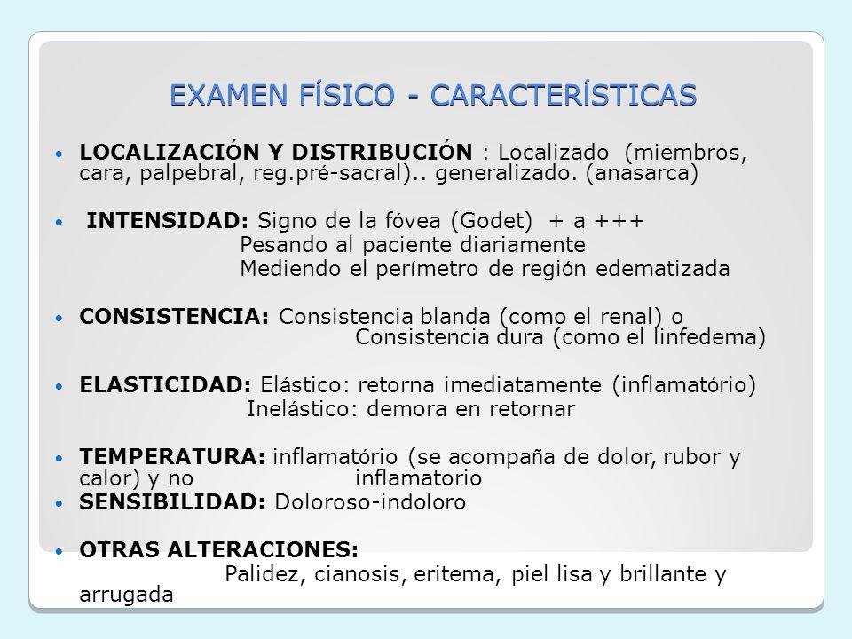 EXAMEN FÍSICO - CARACTERÍSTICAS