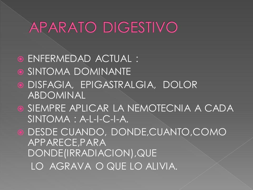 APARATO DIGESTIVO ENFERMEDAD ACTUAL : SINTOMA DOMINANTE