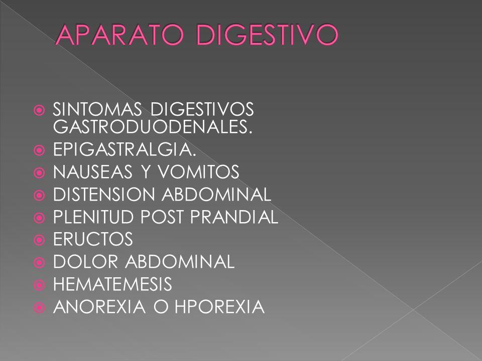 APARATO DIGESTIVO SINTOMAS DIGESTIVOS GASTRODUODENALES. EPIGASTRALGIA.