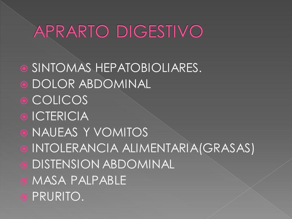 APRARTO DIGESTIVO SINTOMAS HEPATOBIOLIARES. DOLOR ABDOMINAL COLICOS