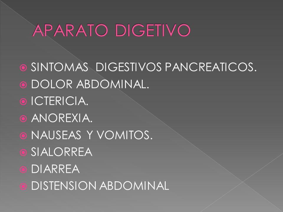 APARATO DIGETIVO SINTOMAS DIGESTIVOS PANCREATICOS. DOLOR ABDOMINAL.