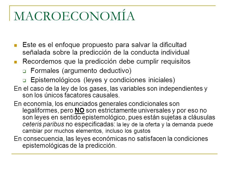 MACROECONOMÍA Este es el enfoque propuesto para salvar la dificultad señalada sobre la predicción de la conducta individual.